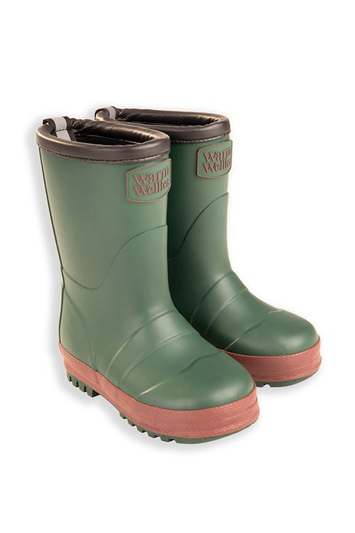 Green Toddler Warm Wellies (Flat Sole)